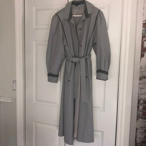 Bergaus Trench Coat.Vintage Grey Long. Women's S/M